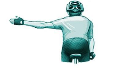 Señal de giro a la izquierda. Accidentes en bicicleta, Triviño Abogados.